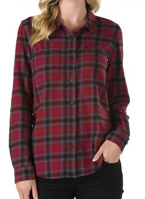 6383aa3dac VANS MERIDIAN III Womens Button Front Flannel Shirt Small Violet Ice ...