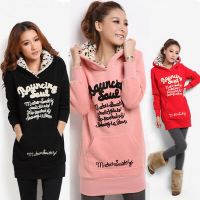 New Women Long Sleeve Hoodie Sweatshirt Sweater Hooded Jumper Coat Pullover Tops
