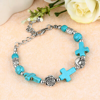 New Fashion Women Tibetan Silver Jewelry Beads Bangle Turquoise Chain Bracelet