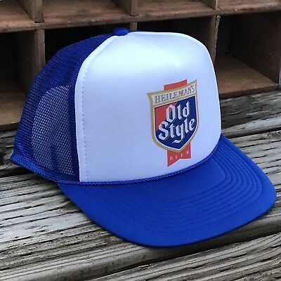 0a0bc265d65 Old Style Beer Vintage 80 s Style Trucker Hat Mesh Snapback Royal Blue Logo  Cap