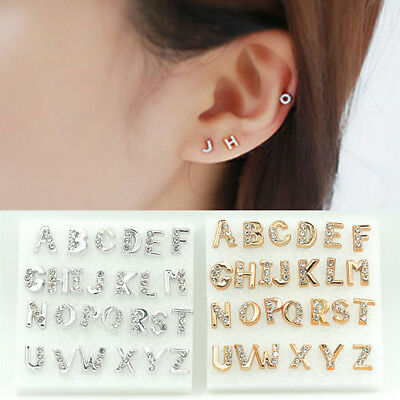 26pcs Initial Letter Studs Earrings A to Z Alphabet Men Women Earring Jewelry