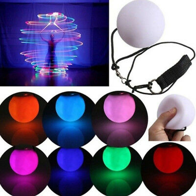 LED Multi Color Glowing POI Thrown Ball Light up for Belly Dance Hand Props Beam