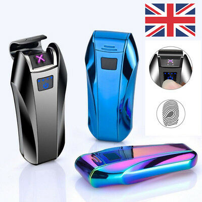 Electric Metal Cigarette Lighter Windproof Flameless Double Arc Plasma Touch