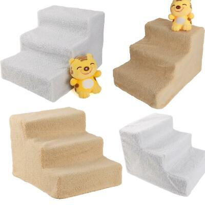 Pet Stairs 3 Step Portable Dog Ladder Indoor Cat Ramp Steps Stair White/Beige