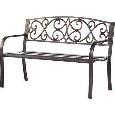 Vintage Cast Iron Outdoor Patio Garden Bench Mosaic Powder Coated with Back Blac