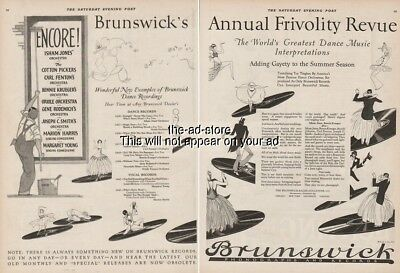 1923 Brunswick Dance Music Records Black Americana Negro Caricature Art Ad