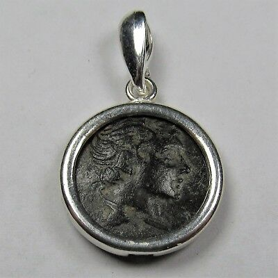 Authentic Ancient Greek Bronze Coin Sterling Silver Pendant Setting Gemini #256