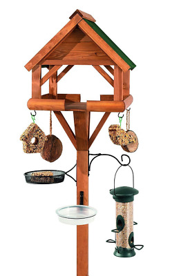 Wooden Wild Bird Feeder Station Hanging Feeders Table Accessory Set Feeder Kit