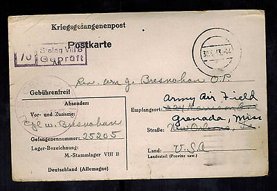 1943 Germany US Soldier POW Camp Postcard Cover Stalag 8B Grenada MS W BResnahan
