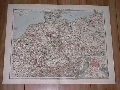 1895 Antique Map Of German Empire Germany Poland Silesia East Prussia / Berlin