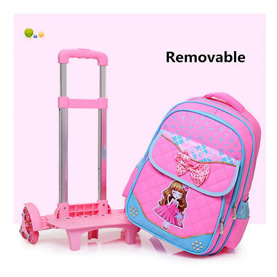 2Pcs Removable Bowknot School Bag Children Trolley Backpack With Wheels Tote