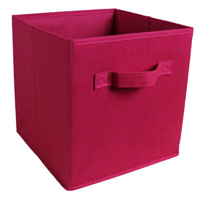 Fabric Foldable Cube Storage Bin Boxes Container Organizer Baskets Wine Red