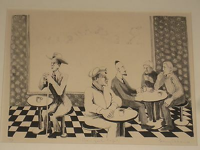Benny Andrews (1930-2006) Lithograph Print New York Cafe African American Artist