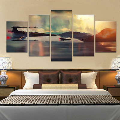 Star Wars Spacecraft Over Lake 5 panel canvas Wall Art Home Decor Poster Print