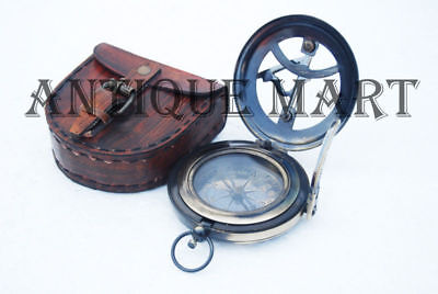 """Brass Solid Push Button Sundial Compass with leather case nautical gift 2.5"""""""