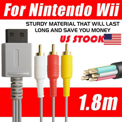 6ft Audio Video AV 3 RCA Video Composite Cable Cord For Nintendo Wii U Game USA