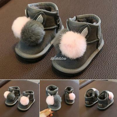 New Infant Newborn Baby Girls Soft Sole Boots Toddler Plush Winter Shoes Cotton