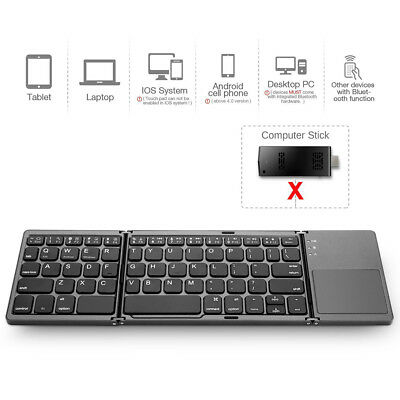 Mini Tri Folding Bluetooth Wireless Keyboard with Touchpad for Phone Tablet PC