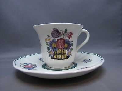 1 FLORAL DEMITASSE CUP & SAUCER by WEDGWOOD A6793 SCALLOPED EDGE