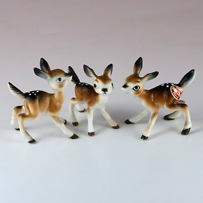 Vintage Miniature Bone China Set of 3 Deer Fawns Figurines Made in Japan w/Box