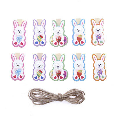 10X Cute Easter Bunny Rabbit Wooden  Photo Clips DIY Clips Decor Party Supply