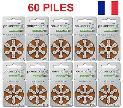 60 Piles Auditives Power One P312 Sans Mercure PowerOne Appareil Auditif Oreille