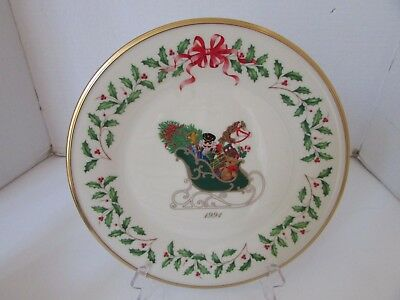 "Lenox Annual Holiday Collector Plate 1St 1991 10.75"" Holly & Berry Sleigh Usa"