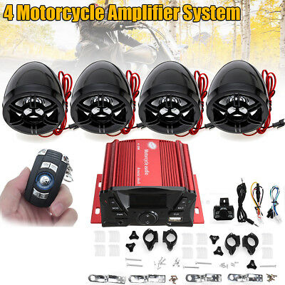 12V LCD Bluetooth Stereo Audio 4 Speakers Amplifier System For Motorcycle ATV