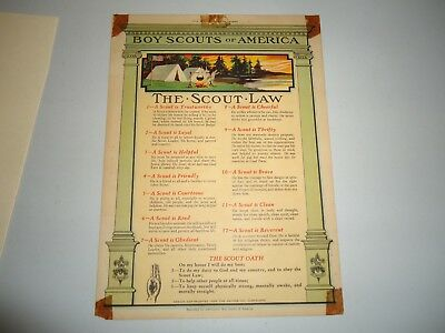 Rare 1935 The Boy Scouts Law Poster Vintage Memorabilia The Kaynee Co. Cleveland