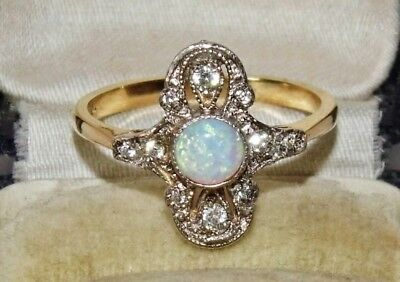 9ct Yellow Gold on Silver Opal Cabochon Art Deco Design Ring - size O