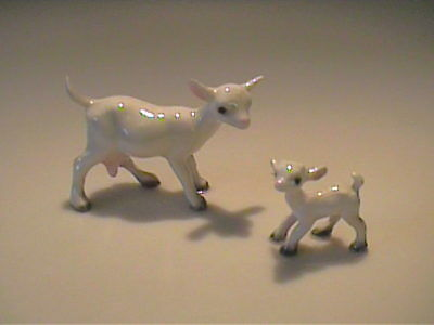 Vintage 1984 Hagen Renaker Miniature Mama White Goat And Kid