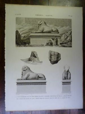 LEPERE DESCRIPTION OF EGYPT Thebes Karna…ORIGINAL ETCHING FIRST EDITION 1809
