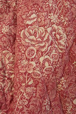 Quilt Antique French Toile de Normandy / Alsace c1820 quilted textile pink 92X88