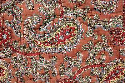 Antique French whole cloth quilt  Provence woodblock printed c1810 RARE DESIGN