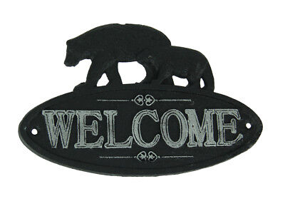 Rustic Black and White Cast Iron Bear Pair Welcome Sign