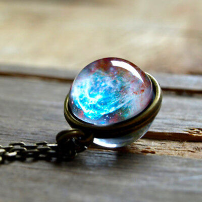 Universe In A Necklace Glass Pendant Necklace Men Women Jewelry Galaxy Ball