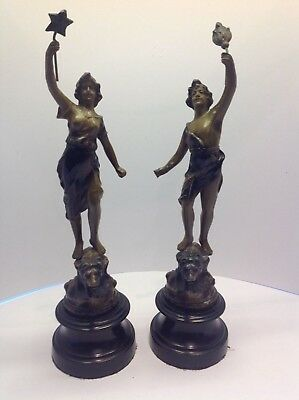 Pair of cold painted spelter Art Nouveau Allegorical figurines standing on lions
