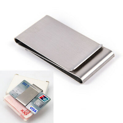 2 Sided Stainless Steel Slim Pockets Money Clip Wallet Credit Card Cash HolderDS