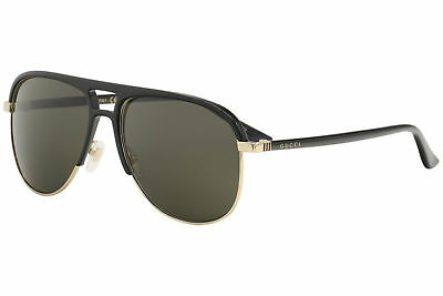 1b439edf4e1 Gucci Men s GG0292S GG 0292 S 001 Black Gold Fashion Pilot Sunglasses 60mm