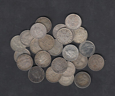 1903-47 Canada Newfoundland 5 Cents Silver Coin Lot Of 25