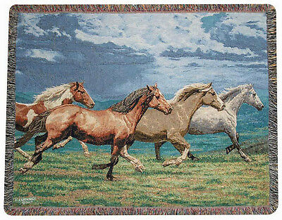 Throws - Stampeding Stallions Tapestry Throw Blanket - Horse Throw - Equestrian