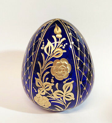 """Collectible Genuine Russian Glass Egg AUTHENTIC Russian Floral Designs Gift 4"""""""