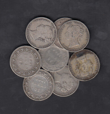 1870-1900 Canada Newfoundland 50 Cents Silver Coin Lot Of 8