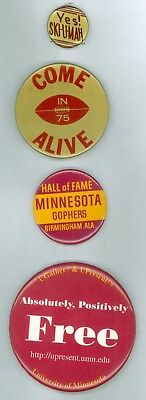 4 Vintage 1920s-80s University Of Minnesota Football Booster Pinback Buttons