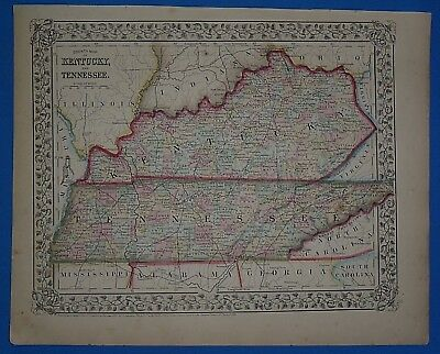 Vintage 1868 KENTUCKY - TENNESSEE Atlas Map ~ Old Antique Original 10119