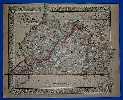 Vintage 1868 VIRGINIA - WEST VIRGINIA Atlas Map ~ Old Antique Original 10119