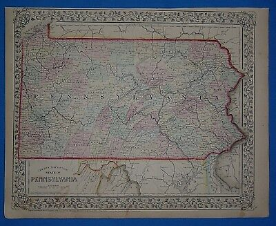 Vintage 1868 PENNSYLVANIA Atlas Map ~ Old Antique Original 10119