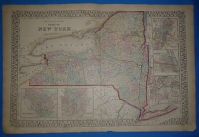 Vintage 1868 NEW YORK STATE Atlas Map Old Antique Original 10119