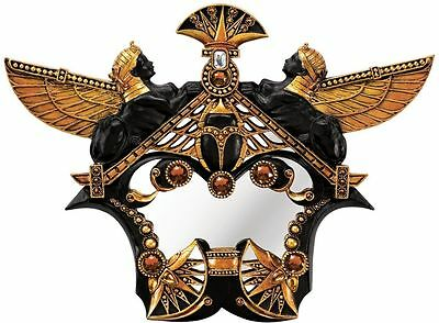 Ancient Egyptian Sphinx Scarab Bejeweled Wall Sculpture Egypt Treasure Mirror