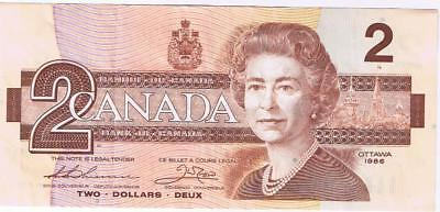 1986 Bank of Canada Canadian $2 Two Dollar Bill Note CBG3738576 Circulated